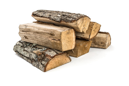 kindling: The logs of fire wood on white background -Clipping Path