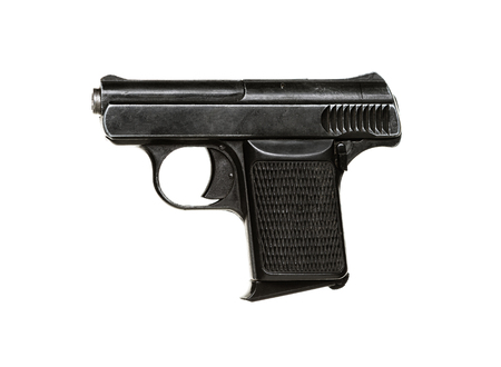 violence and trigger: Small gun isolated on white background Stock Photo