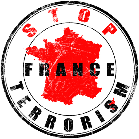 France terrorist attacks -Round stamp with the word stop france terrorism Stock Photo