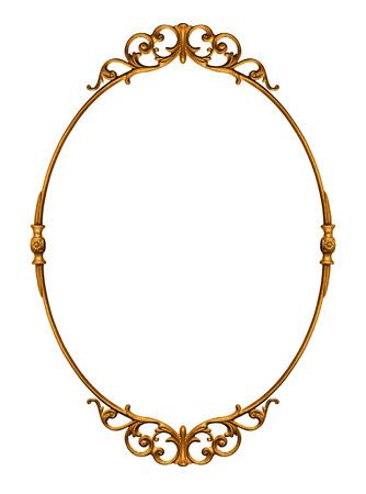 優雅的金色古色古香的框架在白色隔絕