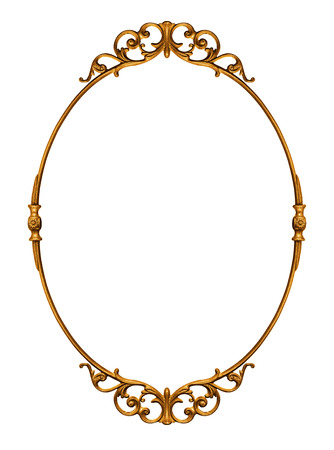 Elegantly golden antique frame isolated on white Stock Photo