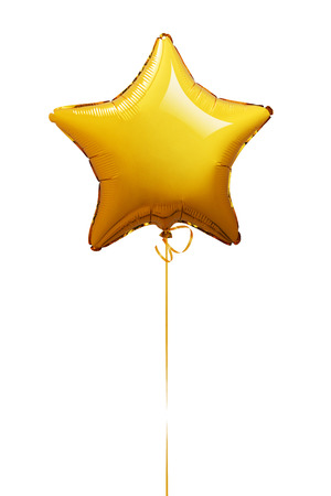Star shape balloon isolated on white -Clipping Path Stock Photo