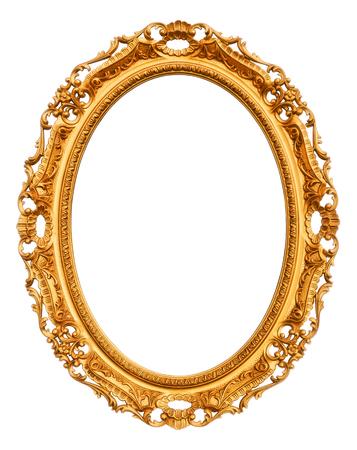Marco de la vendimia del oro aislado en el fondo blanco Foto de archivo - 76821456