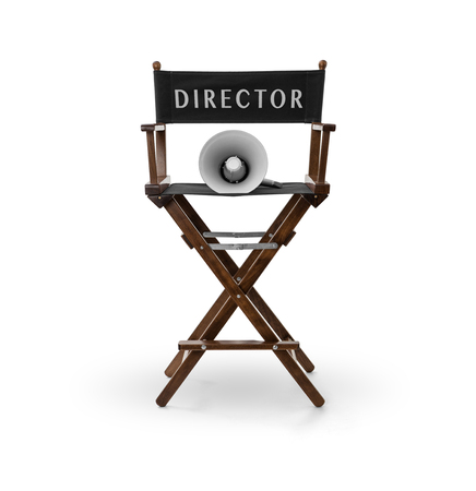 Directors chair and megaphone on white background , Clipping path included