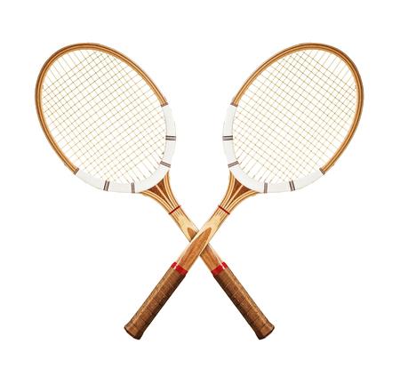白い背景の上のテニス ラケット 写真素材