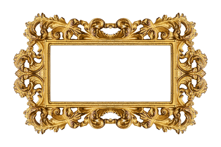 Vintage golden frame isolated on white background -Clipping Path