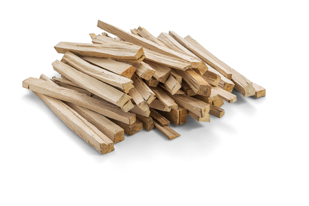 A pile of wood fire for kindling on white background, Clipping Path Stockfoto