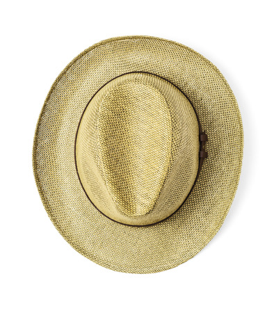 Vintage straw hat for man on white background