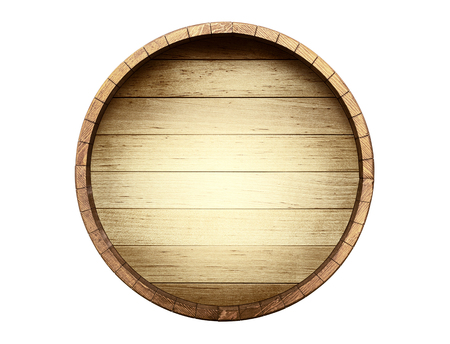 The bottom of a wine barrel on a white background Banque d'images