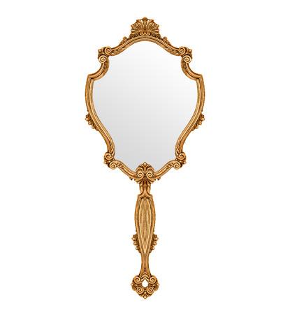 Specchio a mano vintage isolato su bianco Archivio Fotografico