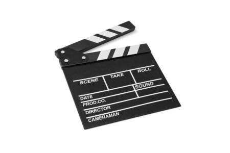 Movie flapper on white background, including clipping path