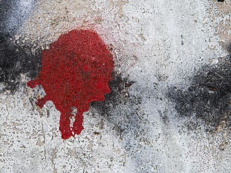 Red stain from the spray on the wall Banque d'images - 130747220