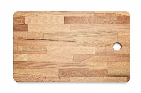 Laminated wooden cutting kitchen board on white background, included clipping path Stock fotó