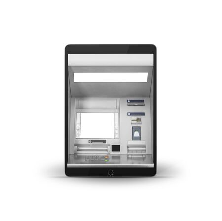 Mobile online banking and payment concept. Tablet computer as ATM isolated on white background 스톡 콘텐츠