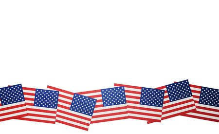 Miniature flags of the United States of America arranged to form a wave Imagens