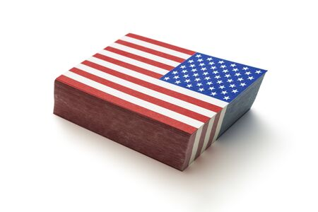 Pile of paper flags of the United States of America, including clipping path Imagens