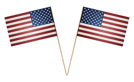 Two paper American flag on wooden stick isolated on white background, including clipping path Imagens