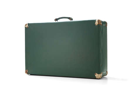 Old vintage suitcase on white background, including clipping path Imagens