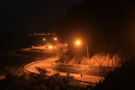 curve road: Curve road on the night