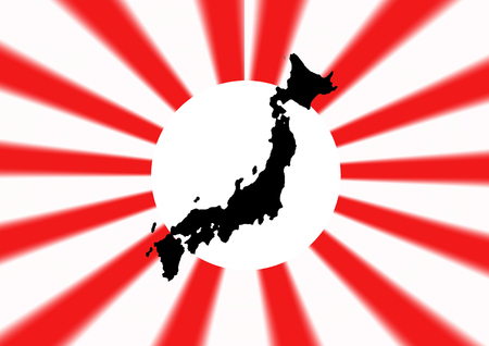imperialism: Navy Flag of Japan with map  illustration background Stock Photo
