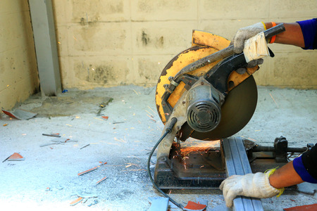 tool and die: blacksmith during working  in building site Stock Photo