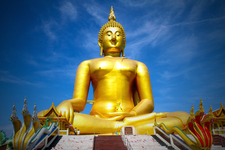 buddha image: Buddha image with blue sky background