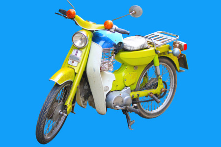 mileage: motorcycle on the blue background