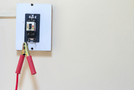 electric current: Repair and renovation electricity switch at home concept by checking electric current and ground line