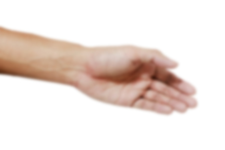 foreleg: Blurred Hand and palm on the white background ,Body part on the white background Stock Photo