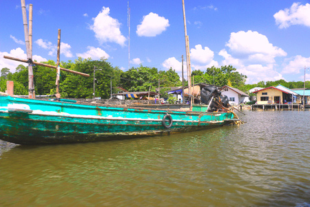 Harbour in Khlung district -Chanthaburi  Thai people come to Khlung district on 2 Feb 2016 : for relax at home stay and eating sea food in mangrove forest  on khlung river - Chanthaburi Thailand. Stock Photo
