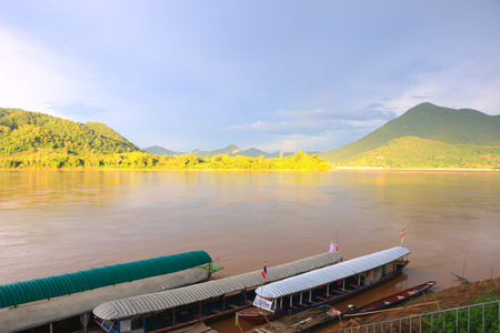 natual: The river border between Thailand and Laos under the afternoon sun light - Kong river border