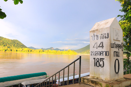 The river border between Thailand and Laos under the afternoon sun light - Kong river border