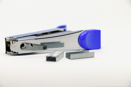 crayon  scissors: Stapler on the white background. Miscellaneous of office equipment. Paper clip,Stapler