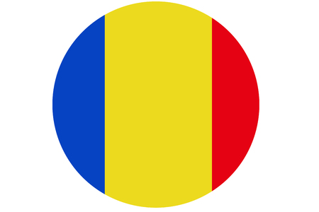 Romania flag ,Romania national flag illustration symbol.Circle flag illustration design Stock Photo