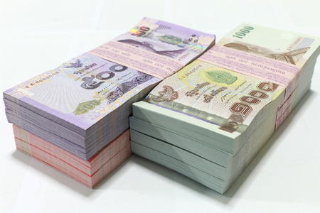 money stack: Money background ,Thai currency on White background ,Stack of thai baht
