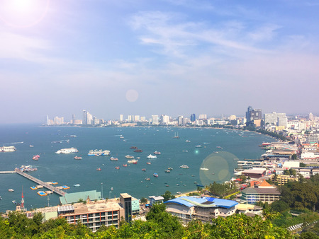 foreign land: Pattaya city viewpoint on the afternoon sun light, Landscape of pattaya city view