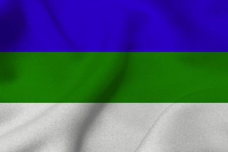 코미 공화국 플래그 3D 그림 기호입니다. 코미 국기