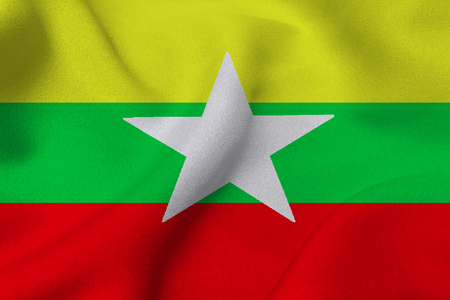 Myanmar flag ,3D Myanmar national flag 3D illustration symbol, Burma Stock Photo