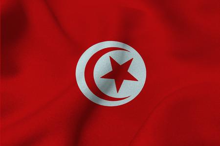 Tunisia national flag 3D illustration symbol