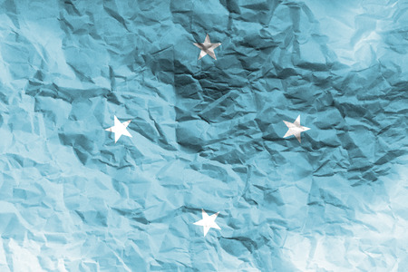 federated: Micronesia flag 3D illustration symbol. Federated states of micronesia