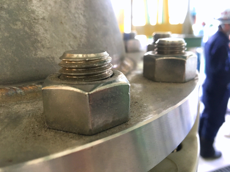 Heavy bolt and hex nut in gas industrial
