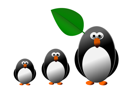 Penguin and family isolated on the white background Stock Photo