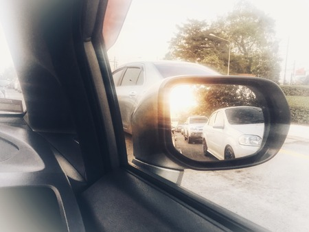 eye vision in the mirror car Stock Photo