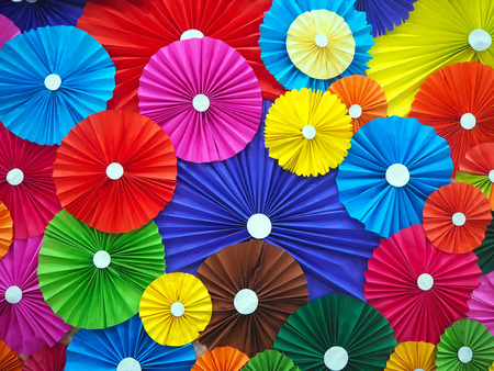 Multicolor of the umbrella paper texture and background Stock Photo - 98804060