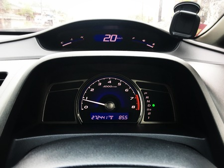 Mileage display panel on the racing car. Dashboard control cars. Analog display panel