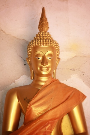 Buddha image god within gold colored in the ayutthaya historical park Thailand Stock Photo