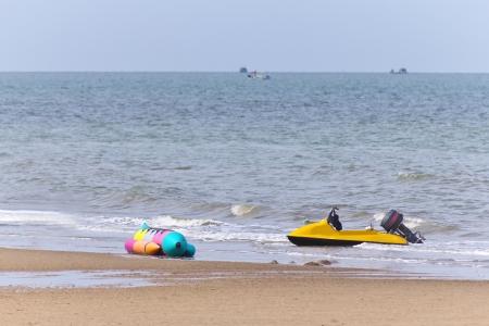 Banana boat in the sea at Thailand Stock Photo