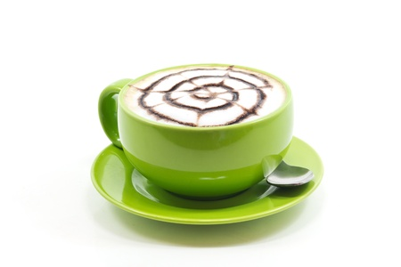 capucinno: Cappuccino in a cup of green on a white background. Stock Photo