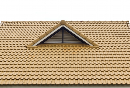 mansard: Tile roof and gable vents. Stock Photo