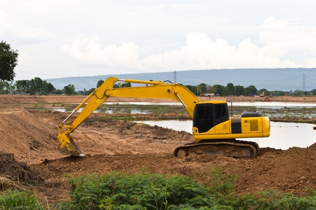 Backhoe working on a construction site. photo